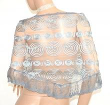 STOLA donna scialle ARGENTO GRIGIO foulard mantella ricamata elegante coprispalle cerimonia  E130