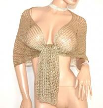 STOLA FILO ORO donna rete scialle coprispalle maxi foulard cerimonia elegante F60