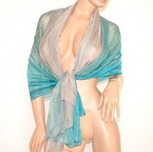 STOLA MAXI 20% SETA donna TORTORA AZZURRO foulard COPRISPALLE elegante velato da cerimonia 800