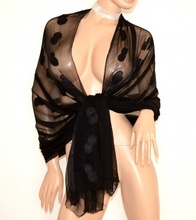 STOLA NERA donna 30% seta coprispalle foulard scialle elegante cerimonia E100