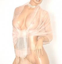 STOLA ROSA CIPRIA donna 30% SETA velata foulard elegante coprispalle scialle cerimonia E90