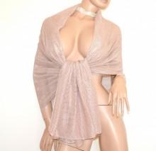 STOLA ROSA CIPRIA maxi foulard donna coprispalle lurex brillantinato scialle elegante abito B3