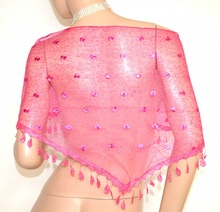STOLA ROSA FUCSIA scialle donna coprispalle ricamato velato frange elegante A12