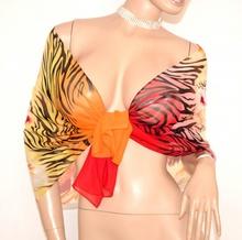 STOLA ROSSO GIALLO ARANCIO CORALLO foulard velato elegante donna coprispalle da cerimonia E110