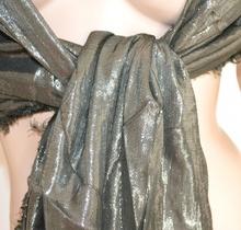 STOLA VERDE ARGENTO elegante MAXI FOULARD scialle coprispalle abito da sera cerimonia party festa Z3