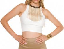 TOP BIANCO FILI ORO donna canotta corta sottogiacca elasticizzato maglietta giromanica elegante AZ34