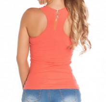TOP CANOTTA CORALLO donna sexy t-shirt maglia smanicata sport palestra zip dorata AZ49