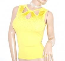 TOP CANOTTA GIALLA donna elegante giromanica maglietta sottogiacca da cerimonia sexy scollatura strass E80