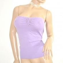 TOP FASCIA donna maglietta LILLA GLICINE sottogiacca strass elegante da cerimonia party E55