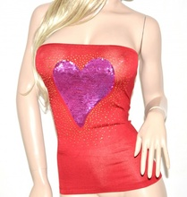 Top fascia rosso cuore fucsia donna maglietta maglia canotta cuore paillettes cotone chiodini oro 23