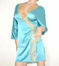 VESTAGLIA donna azzurra chemise manica tre quarti raso pizzo ricamato beige G115