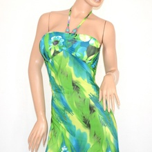 ... Vestito ABITO LUNGO DONNA fantasia floreale verde celeste bandeau  ELEGANTE da sera 95C. prev. next. prev 4ee385638a3
