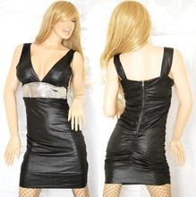 MINI ABITO Donna miniabito sexy effetto pelle con zip con paiellettes vestito dress vestido kleid sexy discoteca