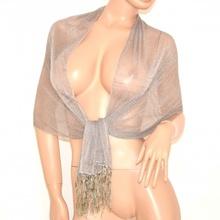 STOLA donna COPRISPALLE foulard DA CERIMONIA elegante trasparente brillantinata shimmer tinta unita argento da sera 200B