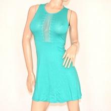 Abito donna verde acquamarina cerimonia ELEGANTE strass\brillantini vestito VELATO miniabito damigella 75A