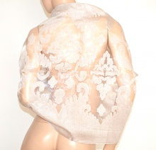 STOLA BEIGE SABBIA donna elegante maxi foulard seta velata ricamata coprispalle da cerimonia E80