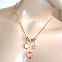 COLLANA CIONDOLI donna oro dorato girocollo cuore rosa strass anelli collier A92