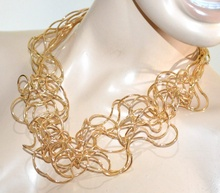 COLLANA donna oro girocollo fili elegante cerimonia collar necklace collier G10