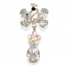 SPILLA donna argento cristalli trasparenti strass cigno fermaglio foulard brooch CC10