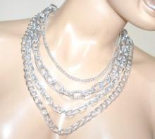 COLLANA donna multi catena argento platino girocollo collier anelli diamantati BB16