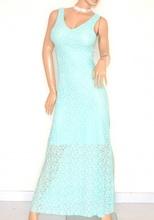 ABITO LUNGO donna VERDE acquamarina vestito elegante PIZZO da sera damigella cerimonia party E120