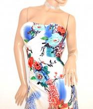 776d4f855db5 ... ABITO LUNGO donna vestito elegante fantasia BIANCO BLU ROSSO bandeau da  cerimonia E125. prev. next. prev