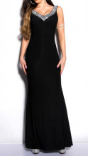 ABITO LUNGO NERO donna vestito decoltè cristalli giromanica cerimonia elegante dress S A30