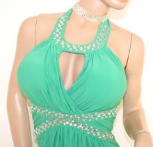 ABITO LUNGO vestito donna VERDE cristalli strass elegante cerimonia abito da sera party E15