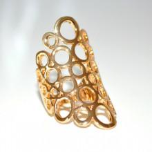 ANELLO donna oro dorato fascetta cerchi anelli elegante metallo lucido GT7