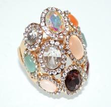 ANELLO donna oro elegante pietre cristalli multicolore elastico strass trasparenti taglia unica cerimonia A7