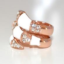 ANELLO donna ORO ROSA SERPENTE STRASS elegante CRISTALLI cerimonia anillo 130