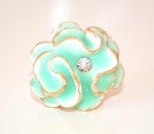 ANELLO donna ORO VERDE ACQUA fiore strass cristallo elegante cerimonia ring L35