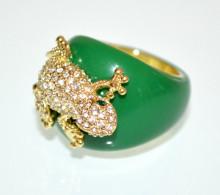 ANELLO donna VERDE ORO dorato fedina fascia ciondolo strass charms elegante anillo N86