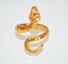 ANELLO ORO donna SERPENTE regolabile metallo tibetano etnico dorato fedina amuleto anel silver ring S75
