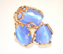 ANELLO PIETRE BLU AZZURRE donna ORO dorato regolabile Occhio di Gatto Bronzo ring stones P20