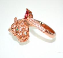 ANELLO TIGROTTO donna ORO ROSA fedina strass cristalli fucsia verde regolabile bague anillos N95