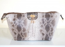BORSA marrone tortora beige donna eco pelle stampa rettile tracolla spalla sac H3