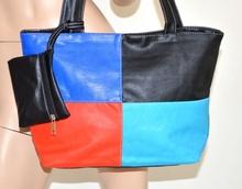 Borsa pelle donna ecopelle nera a quadri blu rosso azzurro tracolla + borsellino portamonete 115