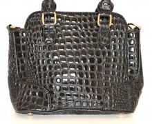 Borsa pelle donna NERA vernice lucida coccodrillo bauletto сумка sac bag 1100