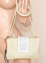 BORSELLO donna BIANCO AVORIO mini borsa pelle ecopelle borsetta clutch bag pochette сумка 800C