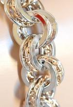 BRACCIALE ARGENTO anelli ORO elegante acciaio lucido ELEGANTE cerimonia maglia anelli B66