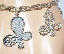 BRACCIALE ARGENTO donna CIONDOLI FARFALLE brillantini luccicanti bracelet E48