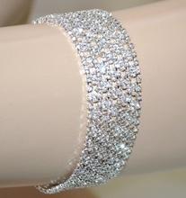BRACCIALE argento strass donna cristalli brillantini elegante cerimonia sposa A19