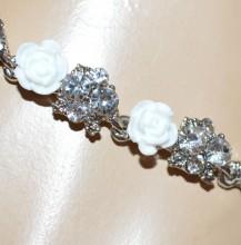 BRACCIALE BIANCO argento donna strass cristalli fiori rose elegante sposa BB2