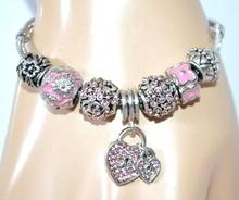 BRACCIALE CIONDOLI argento strass ROSA glicine donna cuore ragazza regalo F150