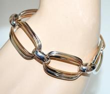BRACCIALE donna anelli argento oro dorati ovali bracelet elegante cerimonia G14