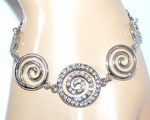 BRACCIALE donna ARGENTO STRASS ciondoli braccialetto elegante bracelet idea regalo F140