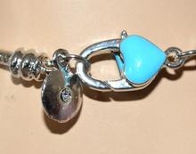 BRACCIALE donna CIONDOLI argento smaltato AZZURRO strass brillantini bracelet 5X