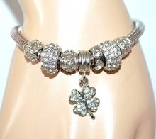BRACCIALE donna ciondoli argento strass cristalli bigiotteria idea regalo F258