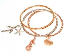 BRACCIALE donna CIONDOLI set 3 bracciali RIGIDI argento oro rosa bracelet 650